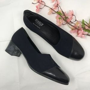 Munro Black Leather & Fabric Pumps Heels 10.5 N